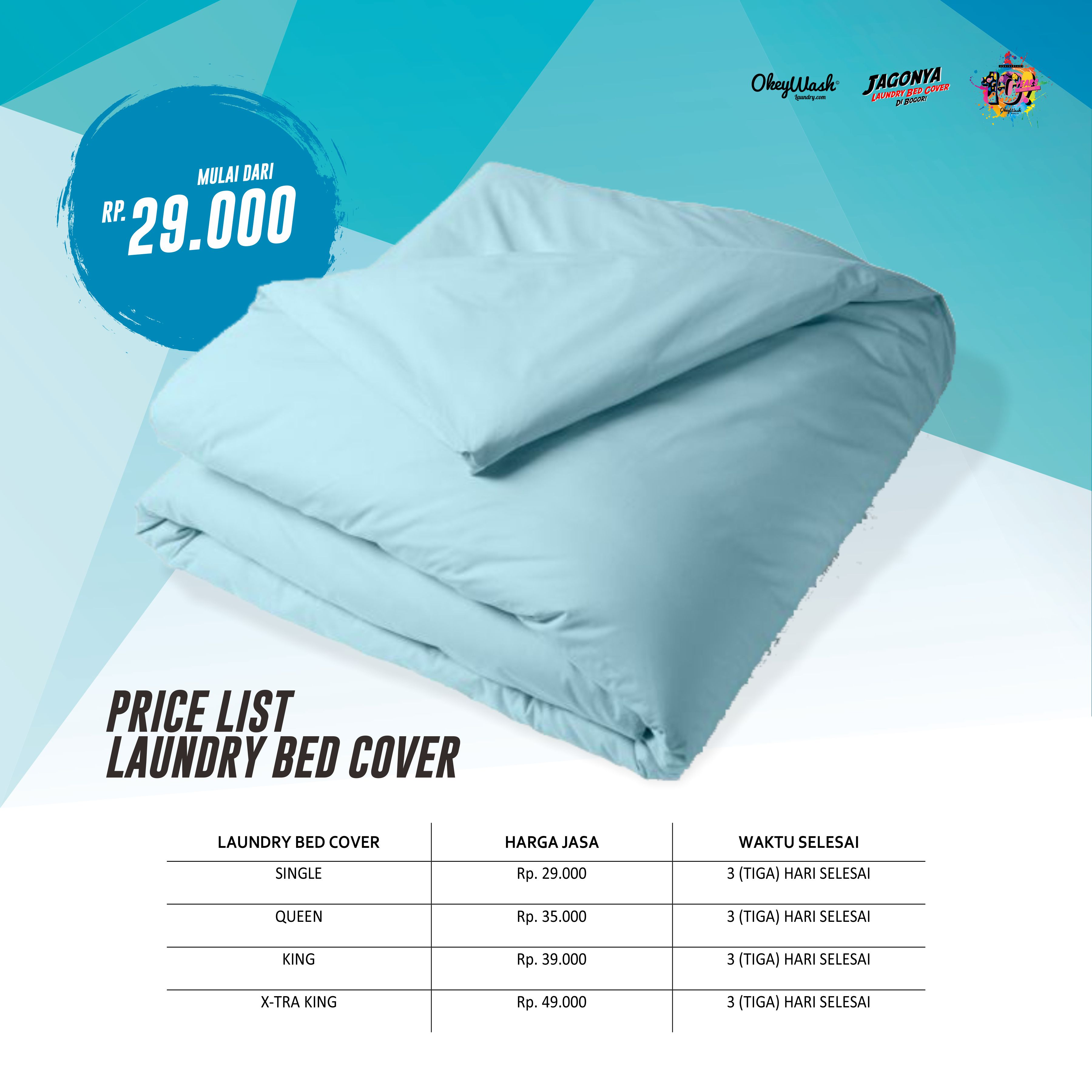 Price List Okey Wash Laundry 2019 - Laundry Bed Cover