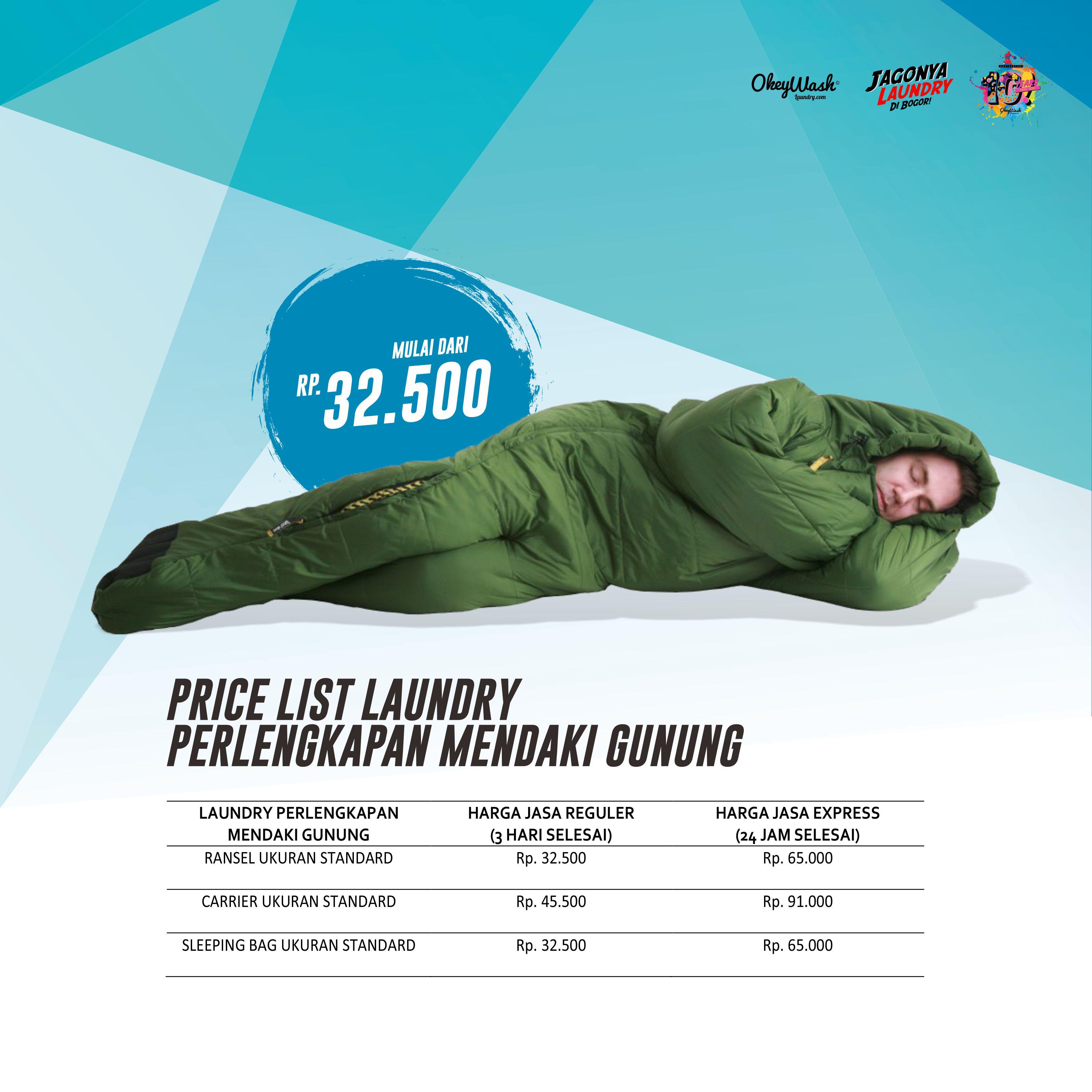 Price List Okey Wash Laundry 2019 - Laundry Perlengkapan Mendaki Gunung