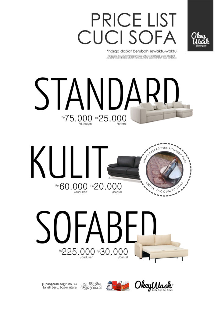 Price List Cuci Sofa Okey Wash 2017 Vaccum Tungau